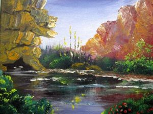 Fine Art Oil Painting Canvas Jordan River hand painting on broad canvas by H. Borosh. The Jordan river in the beginning of autumn seen by the growing of squill flowers.