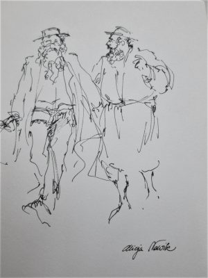 Two Orthodox Jews Discussing Drawing and discussing a Talmudic issue . It has been signed by artist. Dimension 12 cm X 17.7 cm approximately.