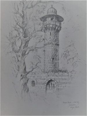 Hand painted pencil drawing on paper by A.Nowik. King David Tower Drawing it is the minaret on King David's tomb in old city Jerusalem.
