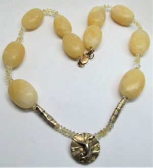 Sterling silver gold plated contemporary design Calcite Citrine Stones Necklace with Calcite & Citrine stones & with 14 carat gold whale clasp.