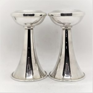 Sterling silver Sabbath candle holders handmade made by Bier for round flat Shabbat candles. Dimension Diameter 6.75 cm X 11.5 cm.
