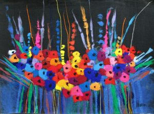 Wild Flower Field Night Painting abstract contemporary soft art carpet painted with thousands of colors syringes into to the fabric.