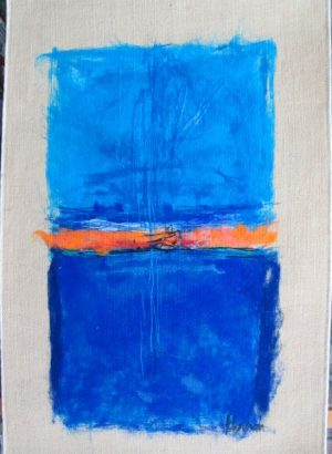 Contemporary Abstract Soft Art Painting on fabric by Y.Harson. Abstract Soft Art Painting design of two blue shades separated by orange .
