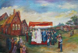 Fine Art Oil Painting Broad Canvas Jewish Wedding hand painting on broad canvas by M. Yankelevitz. Dimension 60 cm X 90 cm approximately.