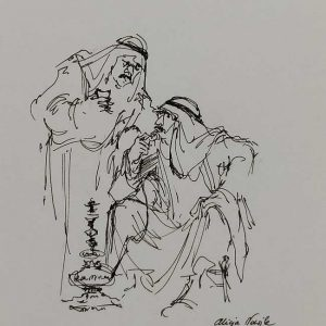 Fine Art Painting Pen Drawing Original Bedouins Smoking Water Pipe with traditional clothing . It has been signed by artist Alicia Nowick.