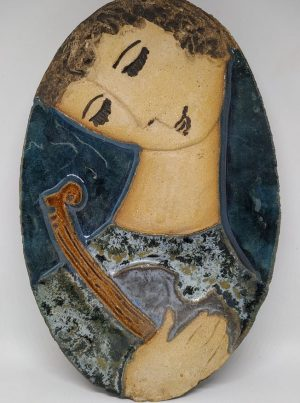 Handmade glazed ceramic tile king David playing his musical instrument in Ceramic Tile David's Harp as described by Ruth.