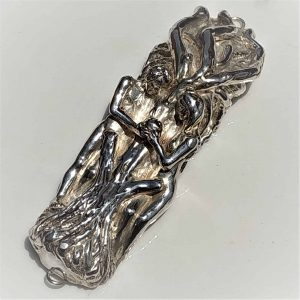 Mezuza Sterling Silver Adam & Eve handmade.Handmade sterling silver contemporary Mezuzah Adam and Eve eating the apple. Suitable for parchment up to 11 cm.