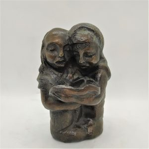 Bronze Sculpture Yeshiva Boys reading from their prayer book. Handmade by P.Flit & signed.Dimension 7.9 cm X 6.5 cm X 12.9 cm approximately.