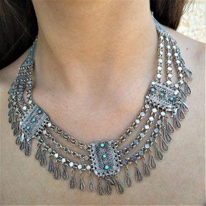 Filigree Silver Necklace Turquoises vintage handmade. Sterling silver Yemenite filigree silver necklace with Turquoises vintage made in Israel.