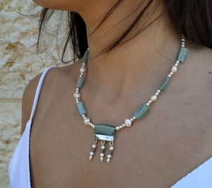 Handmade sterling silver Roman glass necklace with genuine Japanese pearls and sterling silver beads. The Roman glass are found in Israel's excavations.