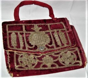 Vintage Moroccan Tallit Bag handmade red velvet and gold thread embroidered Magen David star and two flowers. Dimension 25 cm X 20 cm.